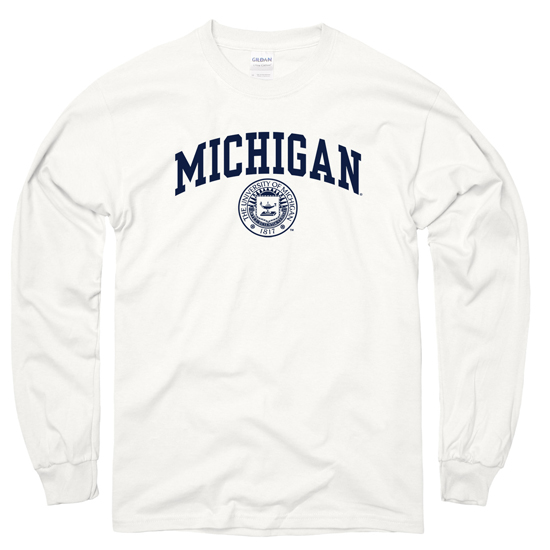 University of Michigan White Long Sleeve Distressed Seal Tee