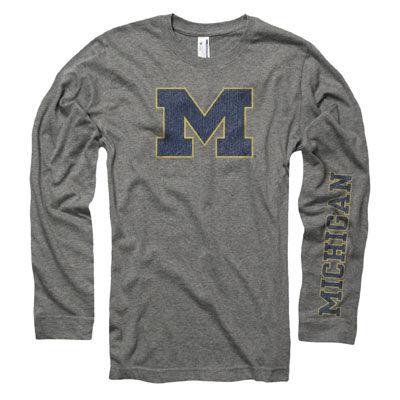New Agenda University of Michigan Ox Gray Long Sleeve Two Color Michigan Tee