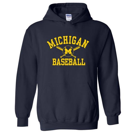 University of Michigan Baseball Navy Hooded Sweatshirt