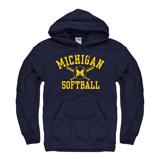 University Of Michigan Softball Navy Hooded Sweatshirt