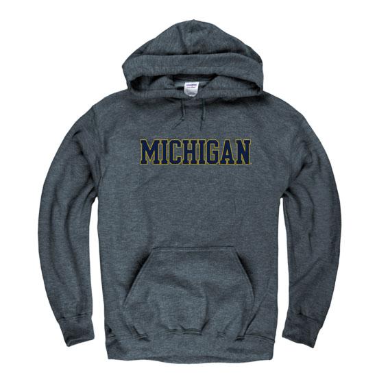 University of Michigan Dark Heather Hooded Sweatshirt