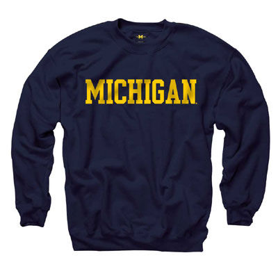 University of Michigan Navy Basic Crewneck Sweatshirt