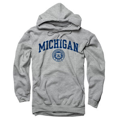 University of Michigan Oxford Gray Seal Hooded Sweatshirt