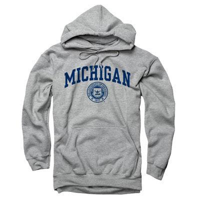 65deb74f817 University of Michigan Oxford Gray Seal Hooded Sweatshirt. Product Thumbnail