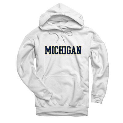 University of Michigan White Basic Hooded Sweatshirt