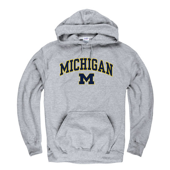 University of Michigan Oxford Gray Distressed Hooded Sweatshirt