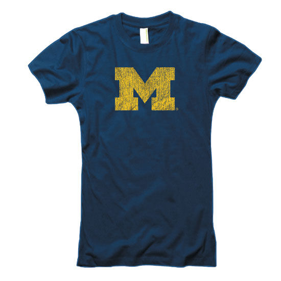 University of Michigan Juniors Midnight Heather Navy ''M'' Tee