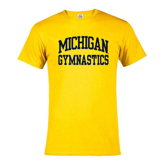 University of Michigan Gymnastics Yellow Sport Tee