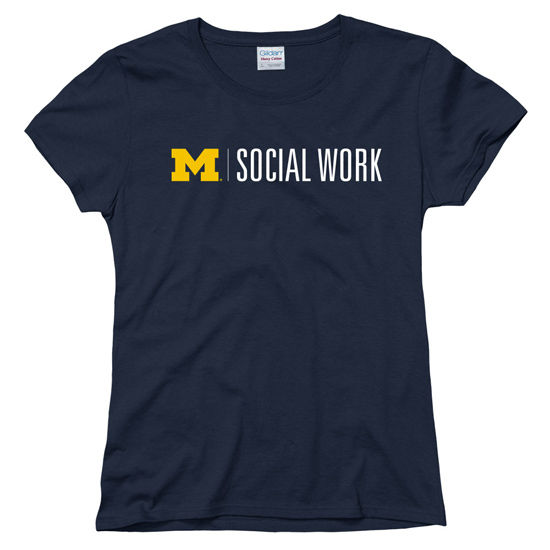 University of Michigan School of Social Work Women's Navy Tee