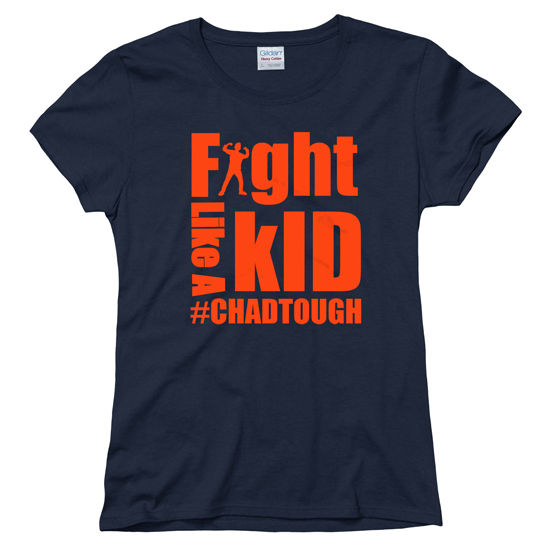 #ChadTough Fight Like a Kid Ladies Navy Tee