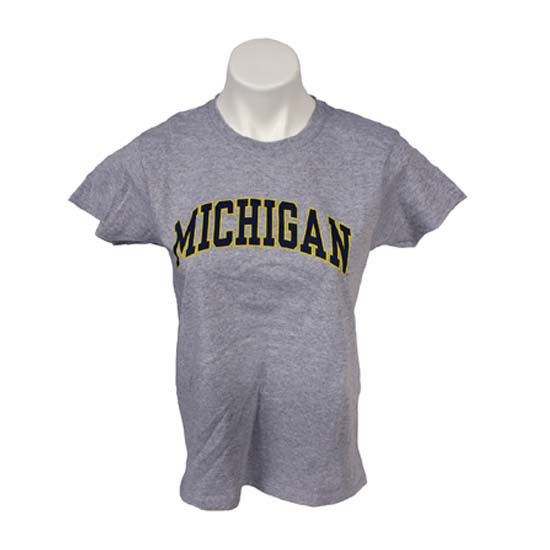 University of Michigan Women's Oxford Gray Basic Tee