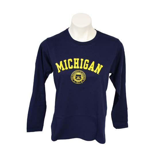 University of Michigan Women's Navy Long Sleeve Seal Tee