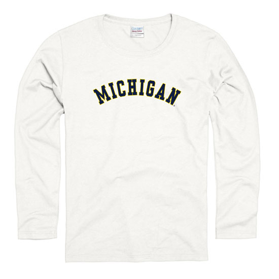 University of Michigan Women's White Long Sleeve Arc Tee
