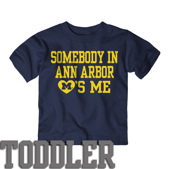 University of Michigan Toddler Navy ''Somebody in A2 Loves Me'' Tee
