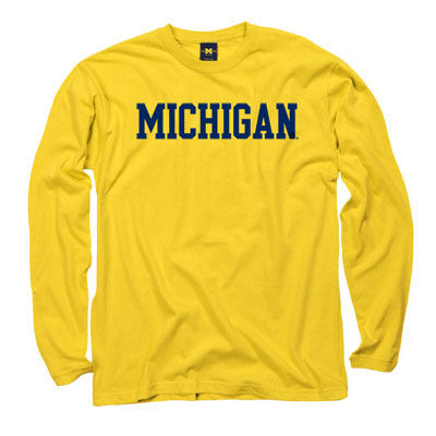 University of Michigan Yellow Long Sleeve Basic Tee