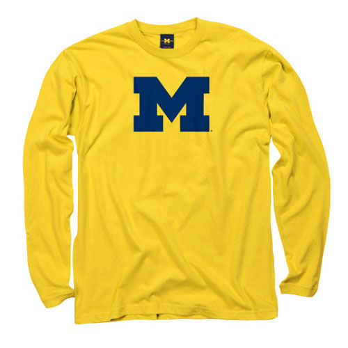 University of Michigan Yellow Long Sleeve Block ''M'' Tee