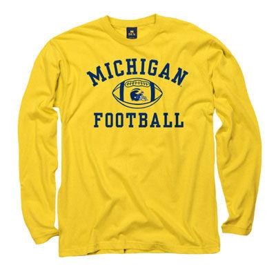 University of Michigan Football Youth Yellow Long Sleeve Tee