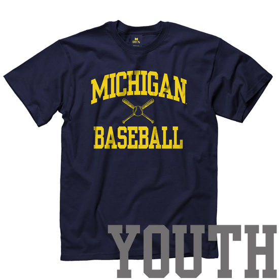 New Agenda University of Michigan Baseball Youth Navy Sport Tee