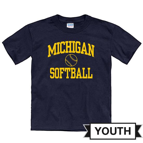 University of Michigan Softball Youth Navy Short Sleeve Tee