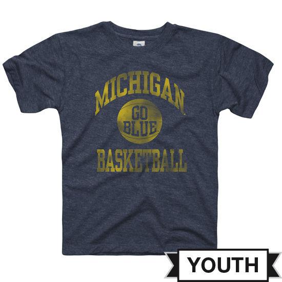New Agenda University of Michigan Youth Heather Navy Basketball Tee