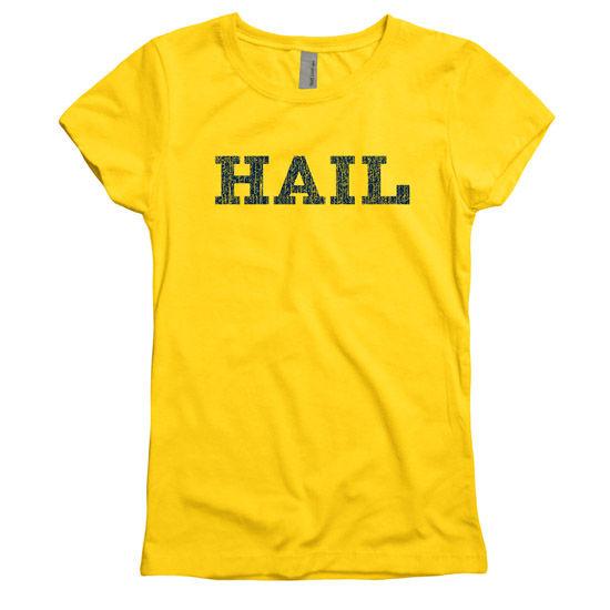 New Agenda University of Michigan Youth Girls Yellow HAIL Cheer Tee