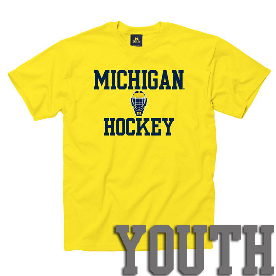University of Michigan Hockey Youth Yellow Tee