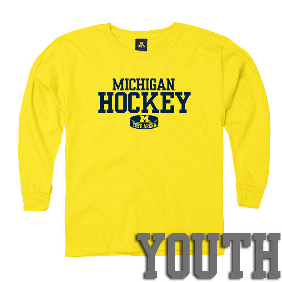 New Agenda University of Michigan Hockey Youth Yellow Long Sleeve Tee