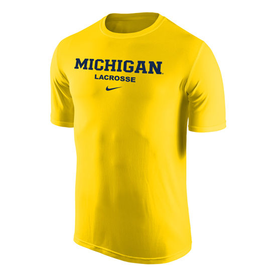 Nike University of Michigan Lacrosse Yellow Dri-FIT Legend Basic Tee
