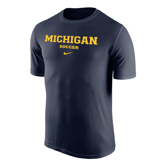 Nike University of Michigan Soccer Navy Dri-FIT Legend Basic Tee