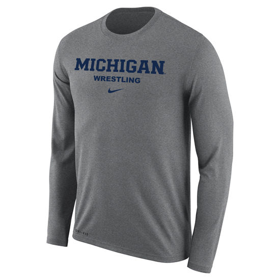 Nike University of Michigan Wrestling Gray Dri-FIT Legend Long Sleeve Tee