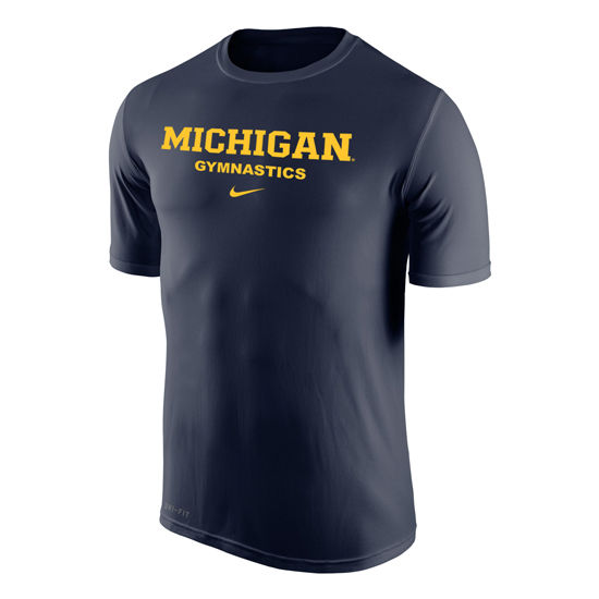 Nike University of Michigan Gymnastic Navy Dri-FIT Legend Basic Tee