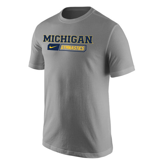 Nike University of Michigan Gymnastics Heather Gray Sport Tee