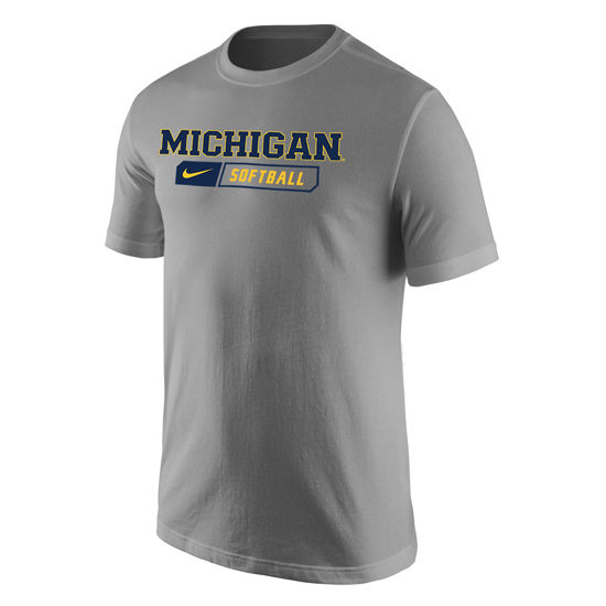 Nike University of Michigan Softball Heather Gray Sport Tee