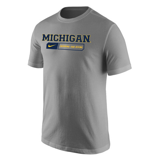 Nike University of Michigan Swimming and Diving Heather Gray Sport Tee