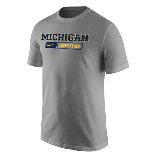 Nike University of Michigan Wrestling Heather Gray Sport Tee