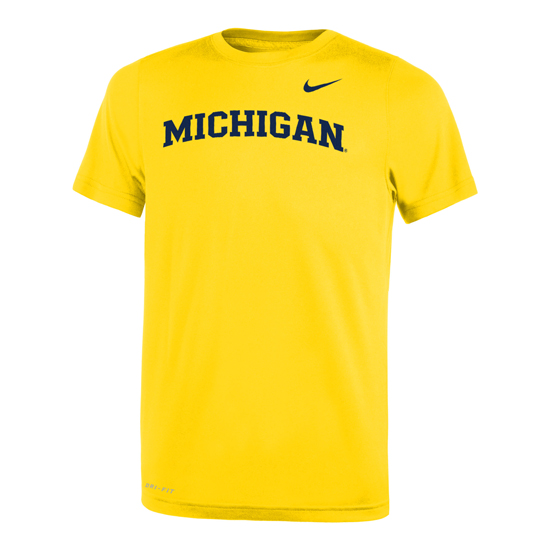Nike University of Michigan Yellow Basic Dri-FIT Legend Tee