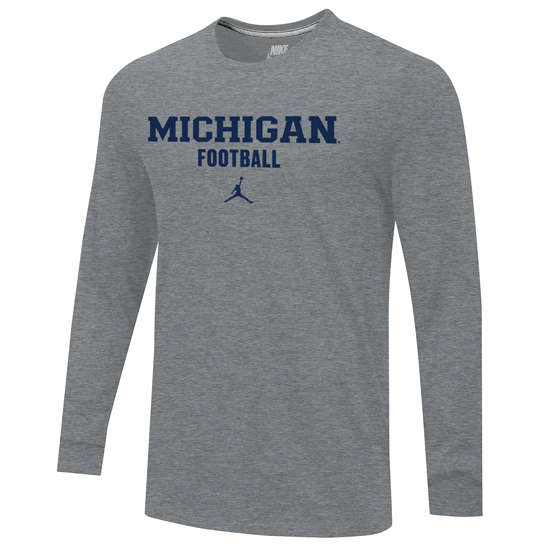 Jordan University of Michigan Football Gray Long Sleeve Tee