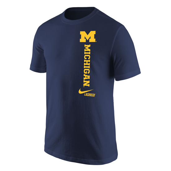 Nike University of Michigan Lacrosse Navy ''Vert'' Tee