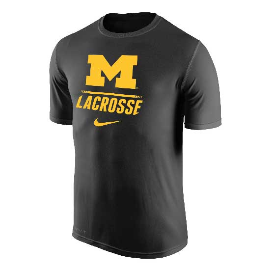 Nike University of Michigan Lacrosse Anthracite Dri-FIT Legend Tee