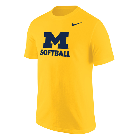 Nike University of Michigan Softball Yellow ''Name Drop'' Tee