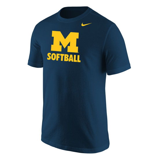 Nike University of Michigan Softball Navy ''Speed Line'' Tee