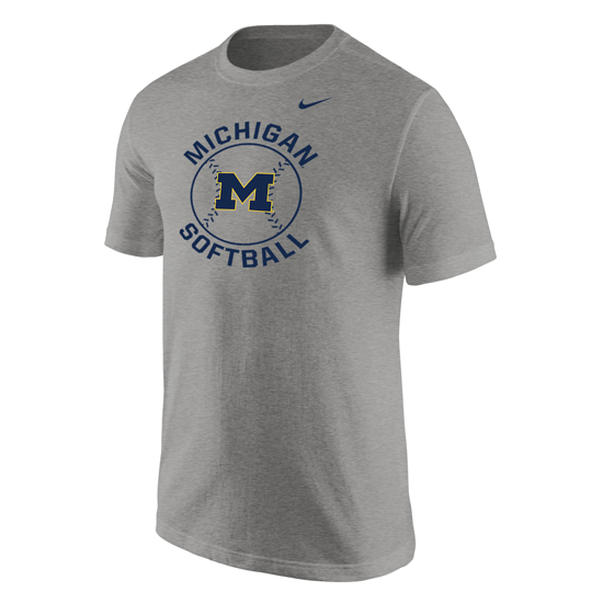 Nike University of Michigan Softball Gray ''Stitches'' Tee