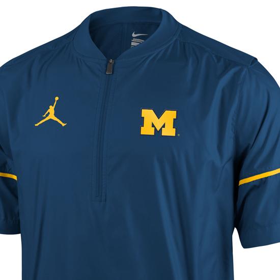 Jordan University Of Michigan Football Navy Short Sleeve 1 2 Zip Pullover Hot Jacket