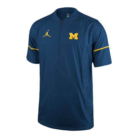 Jordan University of Michigan Football Navy Short Sleeve 1/2 Zip Pullover Hot Jacket