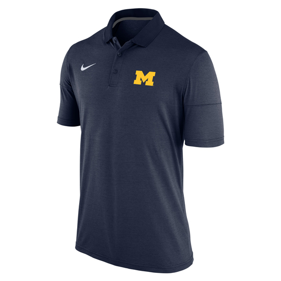 Nike University of Michigan Heather Navy Dri-FIT Touch Polo