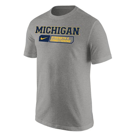 Nike University of Michigan Strength & Conditioning Heather Gray Sport Tee