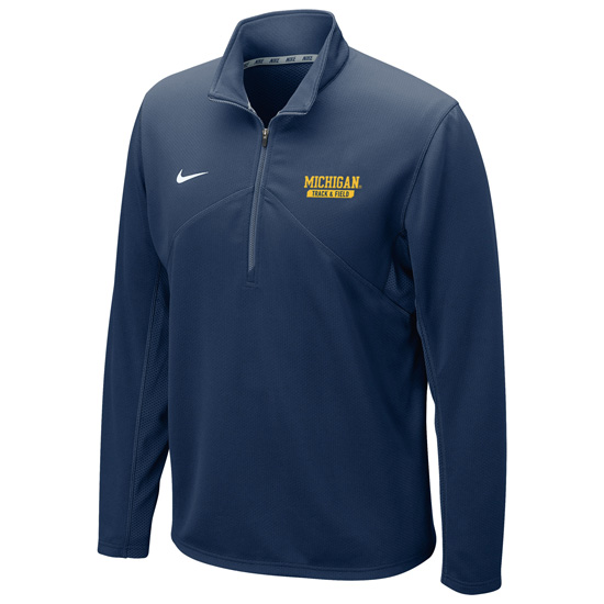 Nike University of Michigan Track & Field Navy Dri-FIT Training 1/4 Zip Pullover