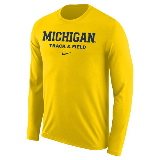 Nike University of Michigan Track & Field Maize Long Sleeve Dri-FIT Legend Tee