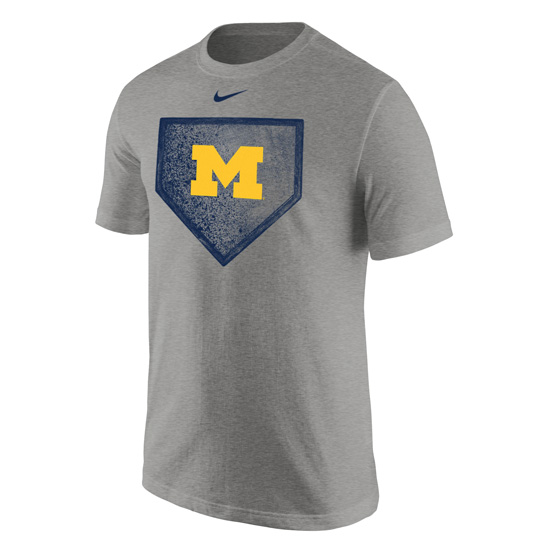 Nike University of Michigan Baseball Gray ''Homeplate'' Tee