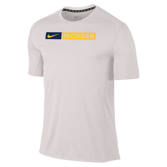 Nike University of Michigan White Dri-FIT Miler Running Tee